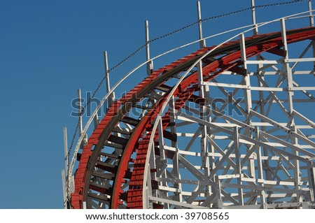 Exciting Red and White Roller Coaster Tracks - stock photo