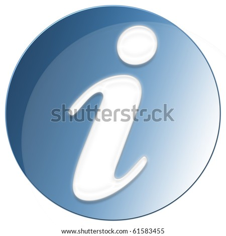 Exclamation Icon - blue color - stock photo