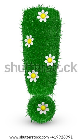 Exclamation mark covered grass and flowers, 3d render.