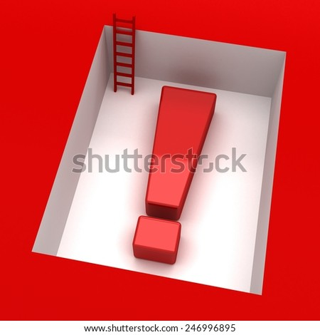 exclamation mark 3d with downstairs - stock photo