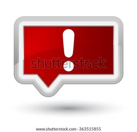 Exclamation mark icon red banner button - stock photo