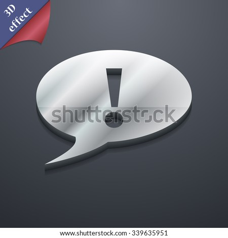 Exclamation mark icon symbol. 3D style. Trendy, modern design with space for your text illustration. Rastrized copy - stock photo