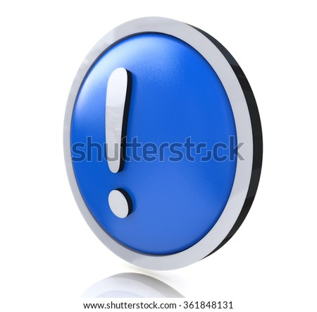 exclamation mark in the design of the information related to the risk on the Internet - stock photo