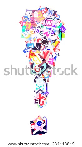 Exclamation mark made of colorful newspaper letters isolated on white - stock photo