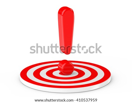 Exclamation Mark over Target on a white background. 3d Rendering - stock photo