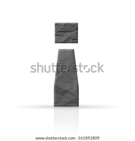 exclamation mark red wrinkled paper texture - stock photo