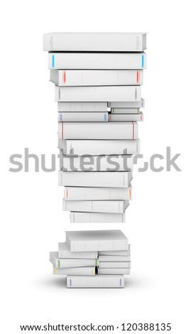 Exclamation mark , stacked from many blank title books in column - stock photo