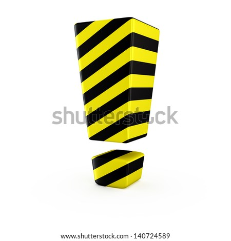 Exclamation mark symbol by black-yellow warning strips on white
