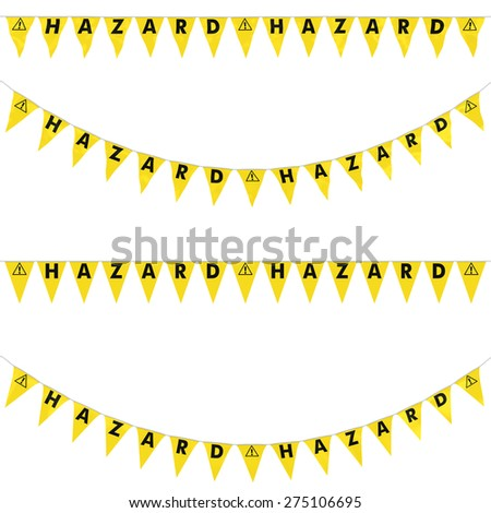Exclamation Mark Symbol Hazard Bunting Collection: 3D reflection and flat orthographic textures - stock photo