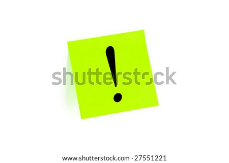 Exclamation mark written on a note isolated on white - stock photo