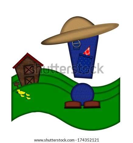 """Exclamation point, in the alphabet set """"Down on the Farm,"""" is dressed in denim overalls complete with pockets.  Letter sits on farm scene with rolling hills, barn, and ducks. - stock photo"""