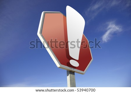 Exclamation road sign - stock photo