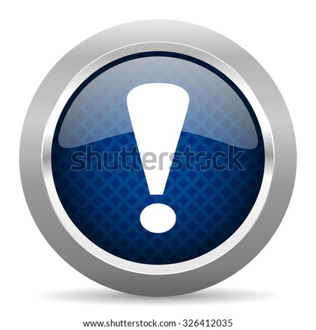 exclamation sign blue circle glossy web icon on white background, round button for internet and mobile app