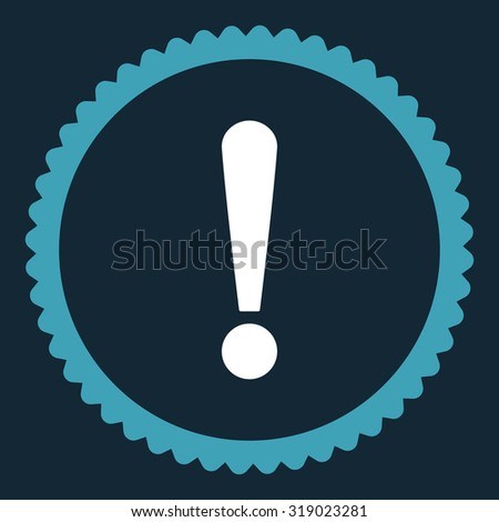 Exclamation Sign round stamp icon. This flat glyph symbol is drawn with blue and white colors on a dark blue background. - stock photo
