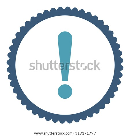 Exclamation Sign round stamp icon. This flat glyph symbol is drawn with cyan and blue colors on a white background. - stock photo