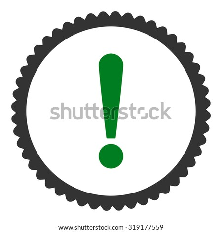 Exclamation Sign round stamp icon. This flat glyph symbol is drawn with green and gray colors on a white background. - stock photo