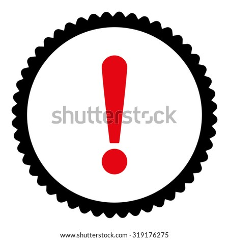Exclamation Sign round stamp icon. This flat glyph symbol is drawn with intensive red and black colors on a white background. - stock photo