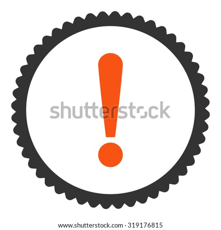Exclamation Sign round stamp icon. This flat glyph symbol is drawn with orange and gray colors on a white background. - stock photo