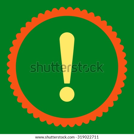 Exclamation Sign round stamp icon. This flat glyph symbol is drawn with orange and yellow colors on a green background. - stock photo