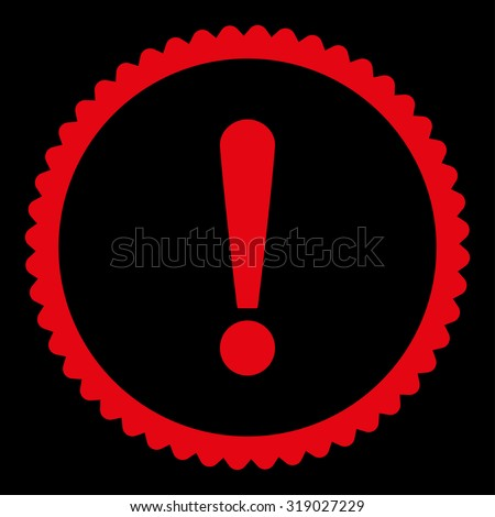 Exclamation Sign round stamp icon. This flat glyph symbol is drawn with red color on a black background. - stock photo