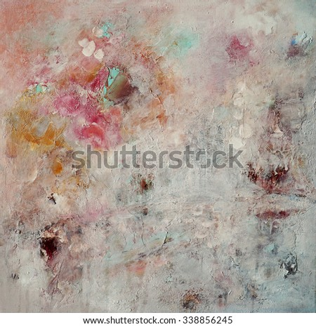 Exclusive abstract painting in white tones - stock photo