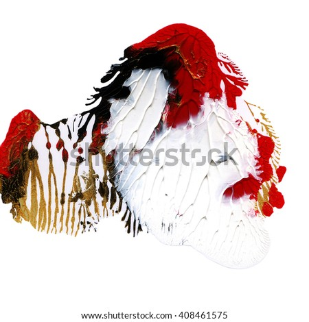 Exclusive acrylic hand painted design element,red,gold, black colors - stock photo