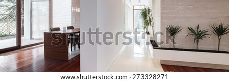 Exclusive bright interior in modern detached house - stock photo