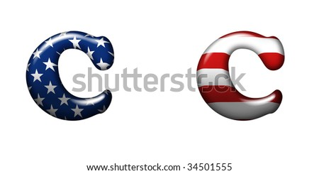 Exclusive collection letters with american stars and stripes isolated on white background - C - stock photo