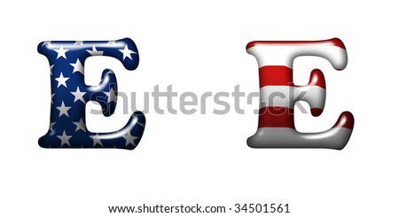 Exclusive collection letters with american stars and stripes isolated on white background - E - stock photo