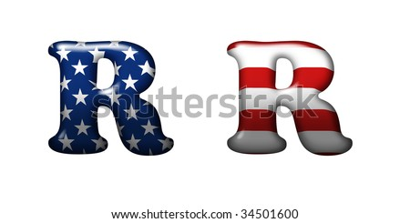 Exclusive collection letters with american stars and stripes isolated on white background - R - stock photo