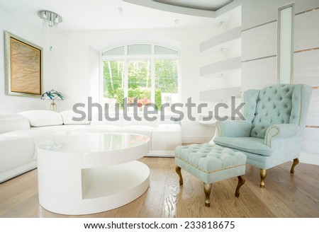 Exclusive comfortable chair in big bright front room - stock photo