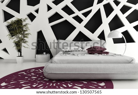 Exclusive Design Bedroom | 3D Interior Architecture - stock photo