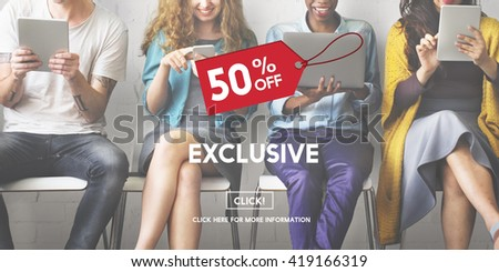 Exclusive Discount Limited Luxury Offer Private Concept - stock photo