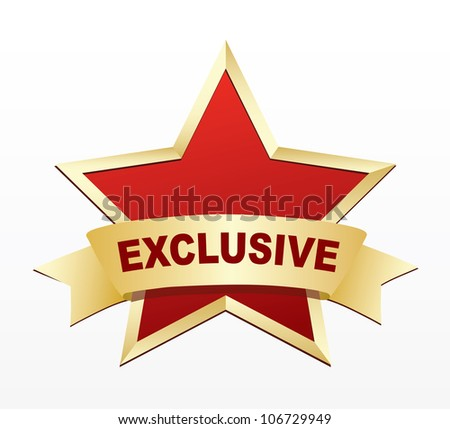 Exclusive gold label. - stock photo