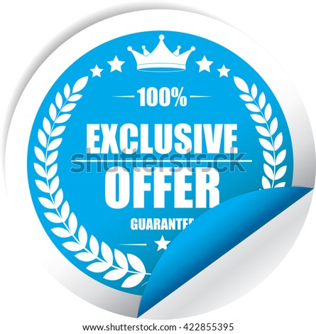 Exclusive offer Blue Label, Sticker, Tag, Sign And Icon Banner Business Concept, Design Modern. - stock photo
