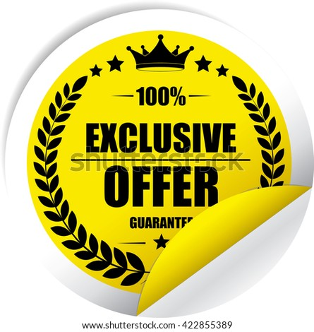 Exclusive offer Yellow Label, Sticker, Tag, Sign And Icon Banner Business Concept, Design Modern. - stock photo