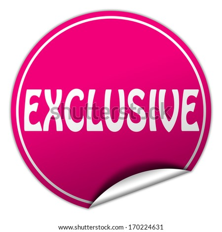 exclusive pink round sticker on white background - stock photo