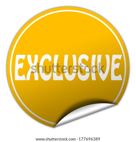 EXCLUSIVE round yellow sticker on white background - stock photo