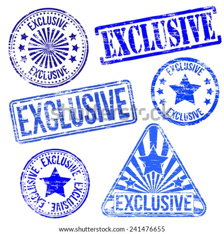 Exclusive stamps. Different shape rubber stamp illustrations  - stock photo