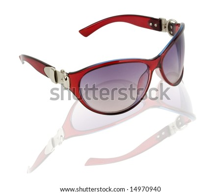 Exclusive sunglasses with a dynamic reflection on white background. - stock photo