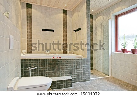 Exclusive Swedish bathroom interior. - stock photo