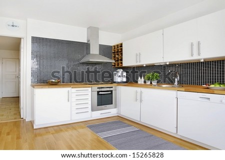 Exclusive Swedish kitchen. - stock photo
