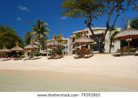 Exclusive tropical resort on Mauritius Island - stock photo