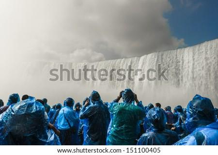 Excursion under Niagara Falls - stock photo