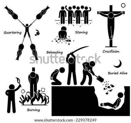 Execution Death Penalty Capital Punishment Ancient Methods Stick Figure Pictogram Icons - stock photo