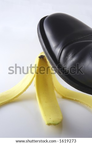 executive  about to tread on banana skin
