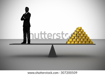 Executive as valuable as Gold. An executive is so valuable that he is worth his weight in Gold. - stock photo