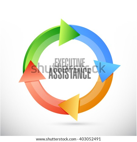 executive assistance color cycle sign concept illustration design graphic - stock photo