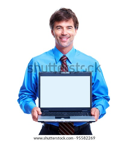 Executive businessman with laptop. Isolated over white background.