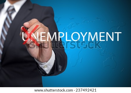 Executive change the word UNEMPLOYMENT-positive thinking - stock photo